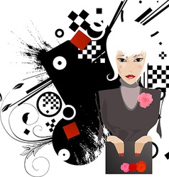 Pouting lady cartoon vector