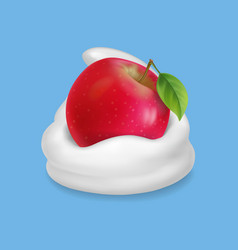 Red apple in whipped cream or yogurt vector