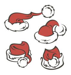 santa hats set vector image