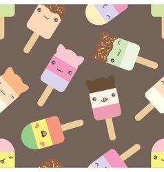 Seamless pattern of cute kawaii style ice cream vector image vector image