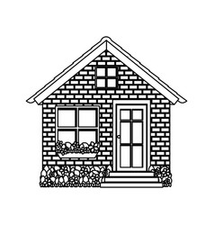 silhouette comfortable facade small house with vector image