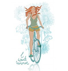 summer bicycle smiling girl vector image