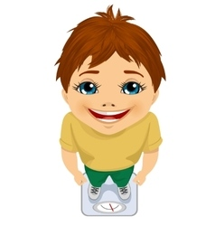 top view of cute boy weighing himself on a scale vector image vector image