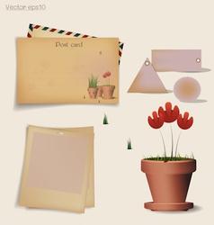 Vintage postcard envelope vector image vector image