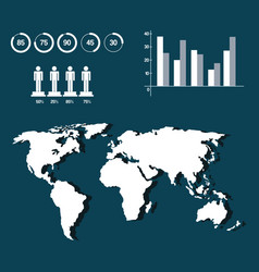 world map infographic demographic statistics vector image vector image