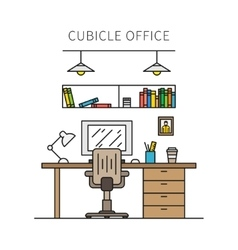 Cubicle office with furniture and equipment vector