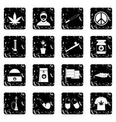 Rastafarian set icons grunge style vector image
