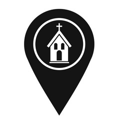map pointer with church icon simple style vector image