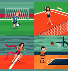 Colorful sport square composition vector