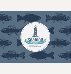 Banner for seafood with lighthouse and seamless vector