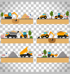 building site machinery on transparent background vector image