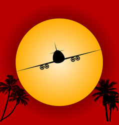 Airplane silhouette over red sky and sun vector