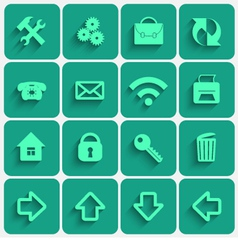 Set of greensea flat style square buttons vector