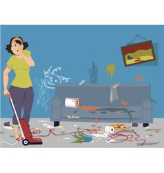Cleaning a messy room vector