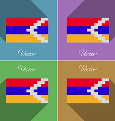 Flags karabakh republic set of colors flat design vector