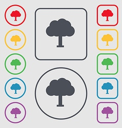 Tree forest icon sign symbol on the round and vector