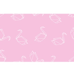 Japanese origami swan seamless linear pattern vector