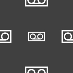 Audio cassette icon sign seamless pattern on a vector
