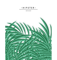 Exotic background with green palm leave for design vector image