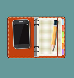 Blank notebook smart phone vector