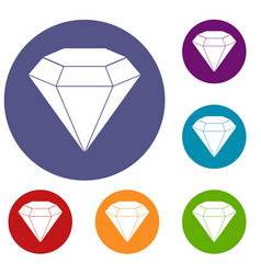 Brilliant gemstone icons set vector
