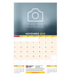 Calendar planner template for 2018 year november vector