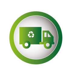 circular frame with recycling truck vector image