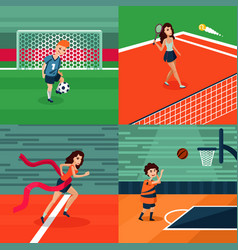 Colorful sport square composition vector
