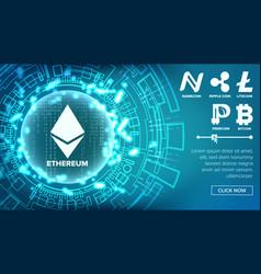 Fintech blockchain concept bitcoin dollar vector