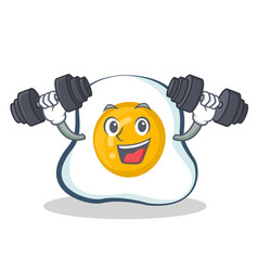 Fitness fried egg character cartoon vector