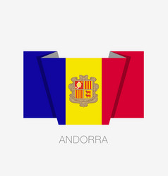 Flag of andorra flat icon waving flag with vector