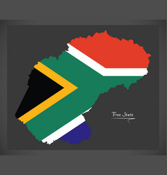 Free state south africa map with national flag vector