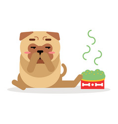 Funny pug dog character sitting beside a full bowl vector