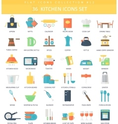 kitchen color flat icon set Elegant style vector image