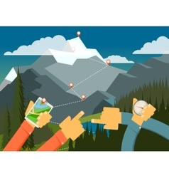 Outdoor walking camping looking way vector image vector image