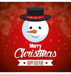 Red background card christmas with face snowman vector