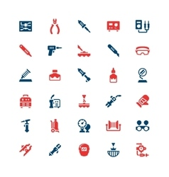 Set color icons of welding and soldering vector