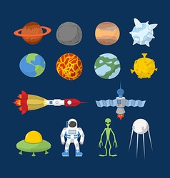 Space set of icons cartoon heroes alien vector