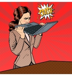 Stressed business woman biting laptop vector