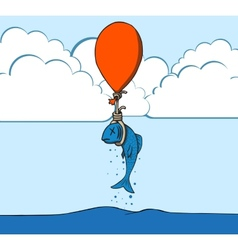 Suicide fish with balloon vector