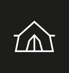 Tent icon on black background vector
