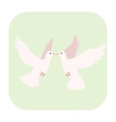 Two doves cartoon icon vector
