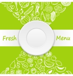 Vegetables and fruits doodle menu vector