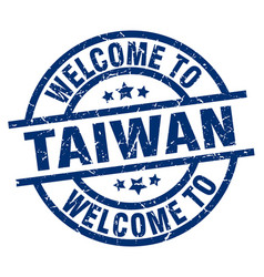 Welcome to taiwan blue stamp vector
