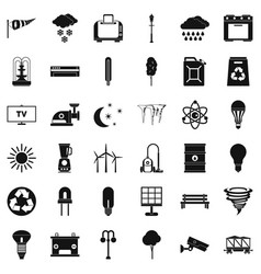 Windmill village icons set simple style vector