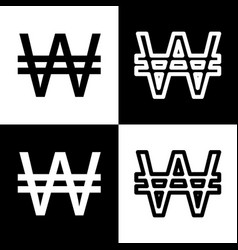Won sign black and white icons and line vector