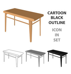 Wooden dining table furniture and interior vector