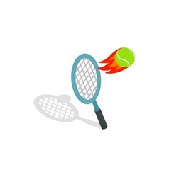 Flying tennis ball icon isometric 3d style vector
