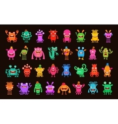 Big collection of cartoon funny monsters vector