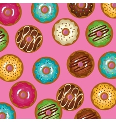 Glazed set donuts sweet with pink background vector